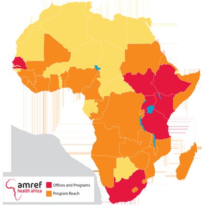 map of Africa highlighting Amref Program areas