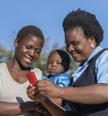 health worker with mom and child